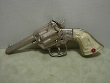 "Buffalo Bill Stevens 7 3/4 "" Cast Iron Nickel Plated Automatic Rare 1940"