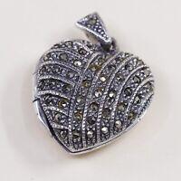 Vintage Sterling Silver Handmade Pendant, 925 Heart Prayer Locket W/ Marcasite
