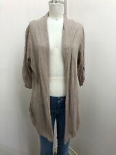 NWT ana A New Approach Heather Tan Open Front Ruched Sleeve Cardigan Sweater XL