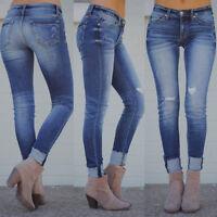 Fashion Womens Stretch Skinny Ripped Denim Jeans  High Waist Pants Long Trousers