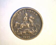 1837 Great Britian, To Hanover, Medium Grade Copper  Coin (UK-143)