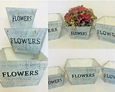 Rustic Farmhouse Solid Wood Rectangular Succulent Pots Planter Boxes Set of 3
