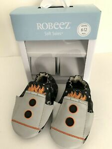 6-12 mos Robeez Kids Soles Crib Shoe Soft Soles Black White Leather SS Apollo