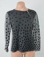 SKOVHUUS (Denmark) Knit Jumper Size Small 8 10 Grey Black Spots long Sleeve