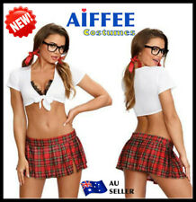 Women School Girls Costume Sexy Lingerie Uniform Cosplay Dress Fancy Outfit Hens