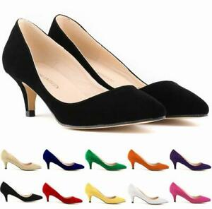 Womens Suede Kitten Heels Pumps Wedding Party Casual Pointed Toe Shoes Slip On