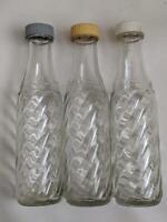 Vintage Glass Soda Stream Bottles - 3 Bottles with  lids , Twist pattern