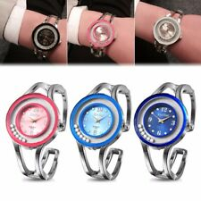 Women Bangle Crystal Dial Stainless Steel Quartz Analog Bracelet Wrist Watch New