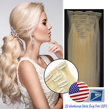 Brazilian Remy Human Hair Extensions Clip in Straight Hair Light Blonde 20InchUS