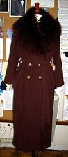 Ferragamo Bathrobe Style Full Length Coat with Detachable Mongolian Fur Collar