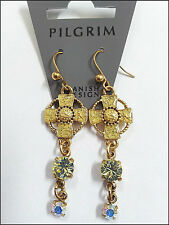 SALE  PILGRIM DENMARK GOLD EARRINGS SWAROVSKI CRYSTALS ENAMEL HANDMADE JEWELRY