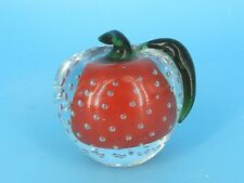 """MURANO ART GLASS BUBBLE CONTROL RED APPLE GREEN LEAF PAPERWEIGHT 3.25"""""""
