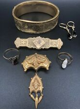 Victorian Antique 2 Gold Rings Cameo Mourning Cuff Bracelet Brooches Opal Brooch