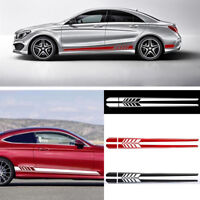 Hot 2pcs Car Side Body Vinyl Decal Sticker Racing Long Stripe Decals Graphics