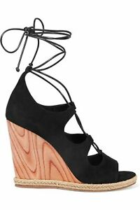 TORY BURCH Raya lace-up Black Suede Wedge Sandals Heels US 10 UK 8