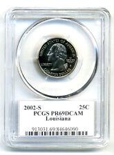 New listing Pcgs Pr69Dcam 2002 S Clad Louisiana State Proof Deep Cameo Quarter 25C Coin#722