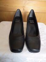 "Clarks womens size 5 38 black leather wedge 2"" heel court cushion soft"