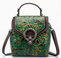 New Women Genuine Cow Leather Backpack Shoulder Bag Embossed Handbag Purse XS