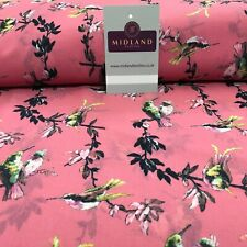 Pink Birds Printed Light Chiffon High Street Fabric 150 cm Wide Mk1084-15