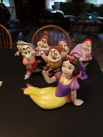 Vintage Snow White & The Seven Dwarfs Ceramic Figurine Set Walt Disney  complete