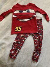 Baby Gap Toddler Boy PJs Pajama 18-24M Disney Pixar Cars Lightning McQueen Red