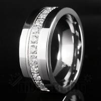 Silver Tungsten Carbide 13 CZ Stone Inlay Wedding Band Engagement Bridal Ring