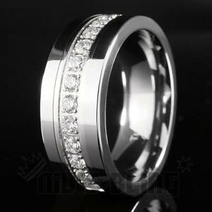 Silver Tungsten Carbide 13 CZ Stone Inlay Wedding Band Engagement Bridal Ring