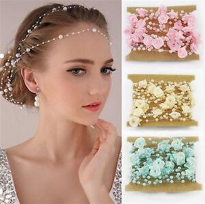 Haarrispen Perlen u. Röschen BLÜTENRISPEN Hochzeit Braut Kommunion - Farbwahl