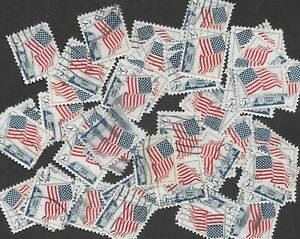 Postage Stamps For Crafting: 1963 5c Flag Over White House; Blue/Red; 50 Copies