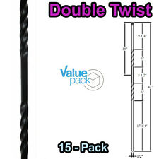 Double Twist Stair Iron Balusters (15-Pack) Hollow Metal Spindles (Satin Black)