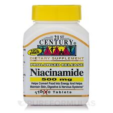 1 Bottle of 21st Century Niacinamide 500 mg Prolonged Release Tablets, 110-Count