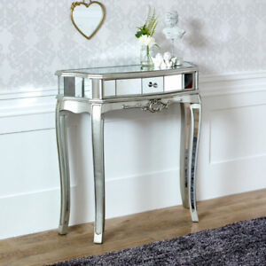 Ornate mirrored half moon console table living room hallway demi lune furniture
