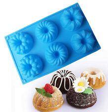 Silicone Muffin Pudding Cupcake Mould Round Cake Pan 6 Holes Baking Pastry Molds