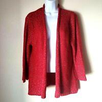 Rafaella Women L Red Waterfall Sweater w/ Silver Sparkle Holidays Christmas EUC