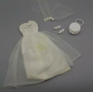 Vintage Barbie British Crown Colony White Chiffon Silver Metallic Party Dress
