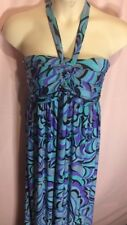 Forever Woman M/L? Medium Large? Dress Halter Neck Tie Purple Teal Tall      X18