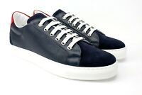 IVAN TROY Aquim Blue Handmade Men Italian Leather Casual Sneakers/ Leather Shoes
