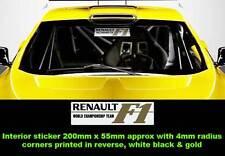 L'équipe de champion du monde, Renault, F1 racing car sticker inverse à l'intérieur WHTBLK GLD x1