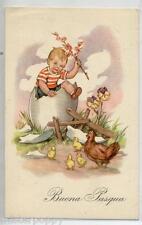 Bambino all'interno di Uovo Gallina Pulcini Buona Pasqua PC Viaggiata 1951