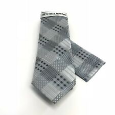 Stacy Adams Men's Tie Pocket Square Set Silver Charcoal Microfiber Hand Made