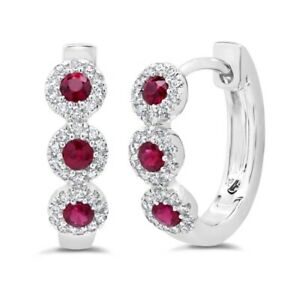 14K WHITE GOLD HALO DIAMONDS AND RUBY SMALL HOOP EARRINGS #1084