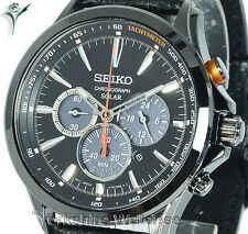 New SEIKO SOLAR BLACK CHRONOGRAPH BLACK FACE WITH LEATHER BUCKLE STRAP SSC499P1