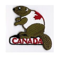 Beaver Wearing Canada Maple Leaf Shirt Patch Badge Embroidered Iron On Applique