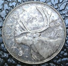 OLD CANADIAN COIN 1948 - 25 CENTS - SILVER - George VI-Rainbow Toning - KEY DATE