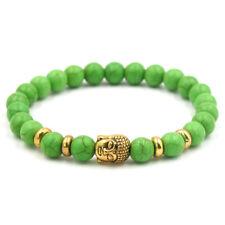 Men Women 8mm Lava Chakra Beads Elastic Natural Stone Agate Buddha Head Bracelet