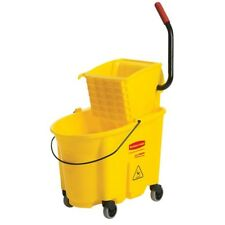 Mop Bucket Wringer Removeable Plastic Oval Down Yellow Tubular Steel 35 Qt.