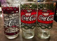 1970's VINTAGE COCA-COLA TIFFANY STYLE STAINED GLASS TUMBLERS Lot of 3