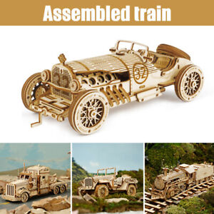 3D Wooden Puzzle Train Model DIY Toy vehicle assembly Mechanical kit Kids Gifts