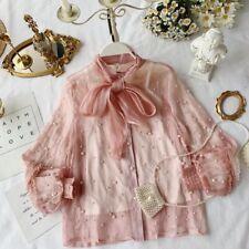 Women Sheer Beaded Blouse Ruffle Shirt Tops Bow Lolita Lace Girl Puff Sleeve
