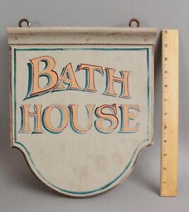 Antique! Authentic! 2-Sided Hand Painted, Bath House, Architectural Sign, NR